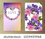 valentines day heart with iris... | Shutterstock .eps vector #1029455968