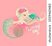 Cute Mermaid In Floral  Flower...
