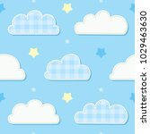 Cute Seamless Sky Pattern With...