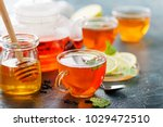 black tea in a glass cups  mint ... | Shutterstock . vector #1029472510