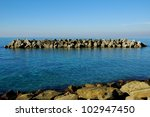 Sea landscape in Italy with roks in sunny day - stock photo
