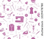 seamless pattern with tools and ... | Shutterstock .eps vector #1029478780