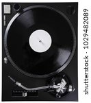 turntable with black record and ... | Shutterstock . vector #1029482089
