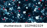 Stock vector wide vintage seamless background pattern peony magnolia wild flowers with leaf on dark blue 1029482329