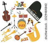 jazz musical instruments tools... | Shutterstock .eps vector #1029484840