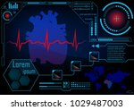 hud gui radar monitor screen.... | Shutterstock .eps vector #1029487003