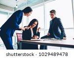 positive crew of employees... | Shutterstock . vector #1029489478
