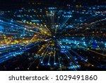 colored bokeh on a dark... | Shutterstock . vector #1029491860