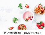breakfast with muesli ... | Shutterstock . vector #1029497584