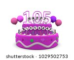 pink cake with happy birthday... | Shutterstock . vector #1029502753