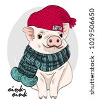 vector pig with red knitted hat ... | Shutterstock .eps vector #1029506650