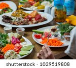 kabab kinds with salads | Shutterstock . vector #1029519808