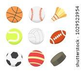 vector cartoon colorful ball... | Shutterstock .eps vector #1029523954