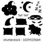 set of black silhouettes... | Shutterstock .eps vector #1029525664