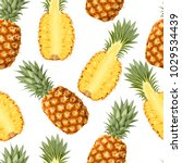 seamless pattern with pineapple ... | Shutterstock .eps vector #1029534439