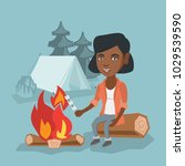 young african girl roasting... | Shutterstock .eps vector #1029539590