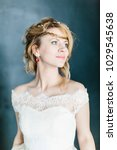 young beautiful bride with a...   Shutterstock . vector #1029545638