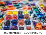 details of dirty watercolors... | Shutterstock . vector #1029545740