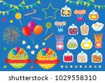 party fireworks candy pop corn... | Shutterstock .eps vector #1029558310