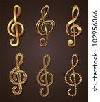 vector set of golden decorative ... | Shutterstock .eps vector #102956366