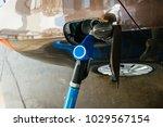 Blue Pump At Pumping Gasoline...