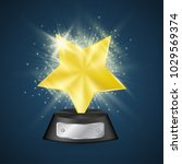 golden metallic star  award... | Shutterstock .eps vector #1029569374
