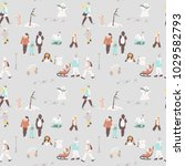 colorful winter pattern of... | Shutterstock .eps vector #1029582793