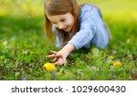 adorable little girl hunting...   Shutterstock . vector #1029600430