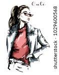 hand drawn beautiful woman... | Shutterstock .eps vector #1029600568