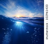 design template with underwater ... | Shutterstock . vector #102961433