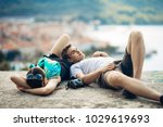 carefree couple relaxing... | Shutterstock . vector #1029619693