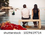 romantic couple on a date in... | Shutterstock . vector #1029619714