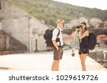 young freelancing photographers ... | Shutterstock . vector #1029619726