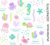 cute sea life cartoon... | Shutterstock .eps vector #1029657973
