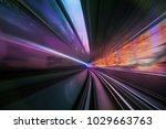 in front of moving train on... | Shutterstock . vector #1029663763