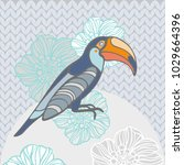 Toucan With Flowers. Vector...