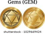set of physical golden coin... | Shutterstock .eps vector #1029669424