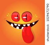 funny cartoon monster face... | Shutterstock .eps vector #1029672790