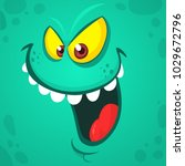 cartoon smiling monster face.... | Shutterstock .eps vector #1029672796