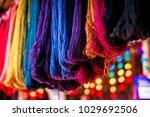 colored yarn of alpaca wool.... | Shutterstock . vector #1029692506