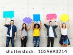 group of young adults outdoors... | Shutterstock . vector #1029693214