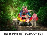 group of people hiking and... | Shutterstock . vector #1029704584