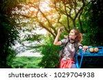 traveler enjoy adventure and... | Shutterstock . vector #1029704938