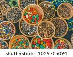 set of multiple types of wooden ... | Shutterstock . vector #1029705094