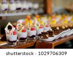 glass shots  pastry. wedding... | Shutterstock . vector #1029706309