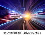 creative image of moving train... | Shutterstock . vector #1029707536