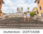 walking couple tourist on... | Shutterstock . vector #1029714208