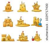 sandcastle beach icons set.... | Shutterstock .eps vector #1029717430