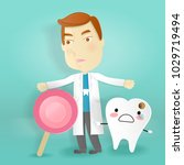 doctor with tooth decay problem ... | Shutterstock .eps vector #1029719494