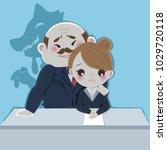 cartoon boss harassing woman in ... | Shutterstock .eps vector #1029720118